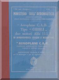 Caproni CAB Ca.309 Aircraft Erection and Maintenance Manual,  Istruzioni per il Montaggio  e la Regolazione ( Italian Language ) , 1939