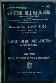 CANT Z 501   Aircraft Erection and Maintenance Manual,  Istruzioni per il Montaggio  e la Regolazione ( Italian Language ) , 1936