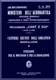 CANT Z 501   Aircraft Erection and Maintenance Manual,  Istruzioni per il Montaggio  e la Regolazione ( Italian Language ) , 1935