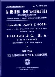 CANT Z 506 B Aircraft Erection and Maintenance Manual,  Istruzioni per il Montaggio  e la Regolazione ( Italian Language ) , 1939