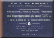 Breda Ba 25 Aircraft Illustrated Parts Catalog Manual,  Nomenclatore Del Materiale Speciale ( Italian Language ) , 1932