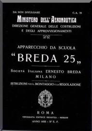 Breda Ba 25 Aircraft Erection and Maintenance Manual,  Istruzioni per il Montaggio  e la Regolazione ( Italian Language ) , C.a. 78 -1932