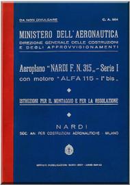 NARDI FN.315 Aircraft Erection and Maintenance Manual,  Istruzioni per il Montaggio  e la Regolazione ( Italian Language )
