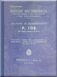 Piaggio P.108 B  Aircraft  Maintenance Manual, Istruzione Montaggio e Regolazione ( Italian Language ) - 1942