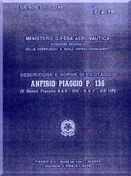 Piaggio P.136 Aircraft Flight  Manual, Manuale di Pilotaggio ( Italian Language )