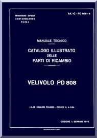 Piaggio / Mc Donnell Douglas PD.808 Aircraft Illustrated Parts Catalog  Manual, Catalogo Nomenclatore ( Italian Language )