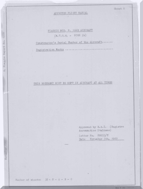 Piaggio P.166 B Aircraft Flight Manual, ( English Language