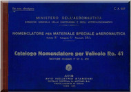 IMAM Romeo Ro.41 Aircraft Illustrated Parts Catalog Manual,  Catalogo Nomencaltore CA. 357 ( Italian Language ) ,