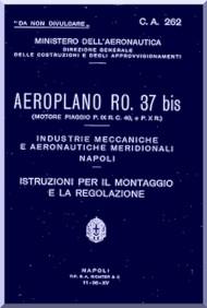 IMAM Romeo Ro.37 Aircraft Erection and Maintenance Manual,  Istruzioni per il Montaggio  e la Regolazione ( Italian Language ) ,