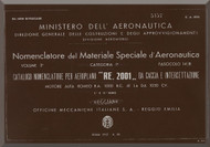 Reggiane R-2001 Aircraft Illustrated Parts Catalog  Manual, Catalogo Nomenclatore ( Italian Language ) CA.493 - 1942
