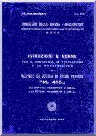 Macchi M.416 Aircraft Erection and Maintenance Manual,  Istruzioni per il Montaggio  e la Regolazione ( Italian Language ) , CA-772 - 1952