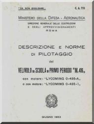 Macchi M.416 Aircraft Flight Manual, Descrizione e Norme di Pilotaggio ( Italian Language ) , CA-773 - 1953