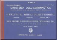 Macchi Mc-200 Aircraft Illustrated Parts Catalog  Manual, Catalogo Nomenclatore ( Italian Language ) - 1941