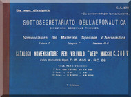 Macchi Mc-205 V Aircraft Illustrated Parts Catalog  Manual, Catalogo Nomenclatore ( Italian Language )