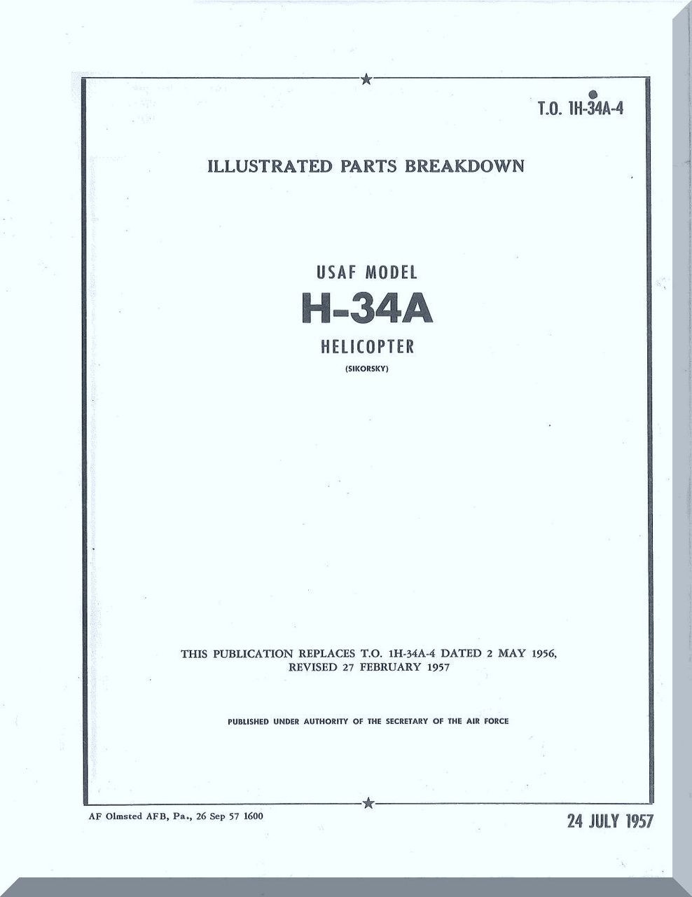 Sikorsky H 34 A Helicopter Illustrated Parts Breakdown Manual 1h Diagram Image 1
