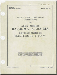 Glenn Martin RA-30-MA , A30A-MA Baltimore  Pilot's Flight Operating Instructions  Manual  A.P.  2017A to E - 1943