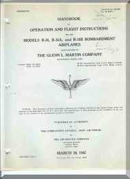 "Glenn Martin B-26 "" Marauder ""  Aircraft Flight  Handbook Manual - 01-35EA-1 - 1942"