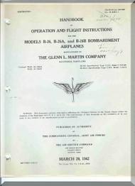 """Glenn Martin B-26 """" Marauder """"  Aircraft Flight  Handbook Manual - 01-35EA-1 - 1942"""