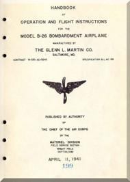 Glenn Martin B-26 Bombardment Airplane  Handbook of operation and flight instruction  Flight Manual   ,  1941