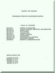 "Mooney M.22 "" Mustang "" Aircraft Service Maintenance Manual  - 1967"