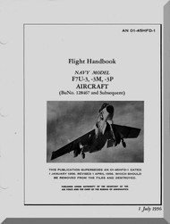 Vought F7U-3  Aircraft Pilot's Handbook Flight Manual 01-45HFD-1