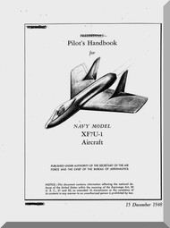 "Vought XF7U-1 "" Cutlass "" Aircraft Pilot's Handbook Flight Manual - 1948"