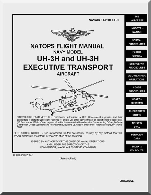 Sikorsky NAVY UH-3A Helicopter Flight Manual , NAVAIR 01