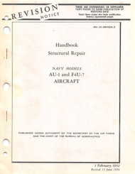 Vought AU-1 and F4U-7 Structural Repair Handbook Manual , AN 01-45HGA-3 , 1952