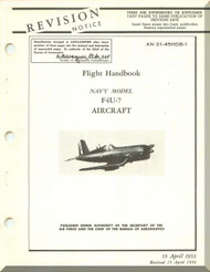 "Vought F4U-7 "" Corsair "" Aircraft Pilot's Handbook Flight Manual - 01-45HDB-1 - 1953"