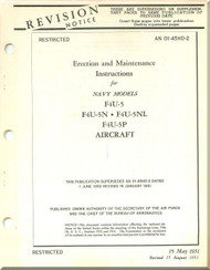 Vought F4U-5,-5N,-5NL-5P   Erection & Maintenance Instructions AN 01-45HD-2 , 1951