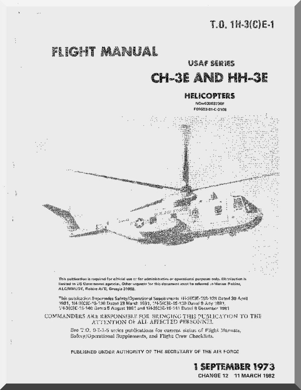 HH-3E Flight Manual Helicopter Manual  1973 CD version CH-3C CH-3E