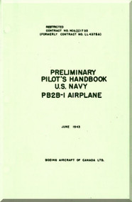 Boeing / Consolidated  PB2B-1 Aircraft Preliminary Pilot's Handbook Manual - ,   1943