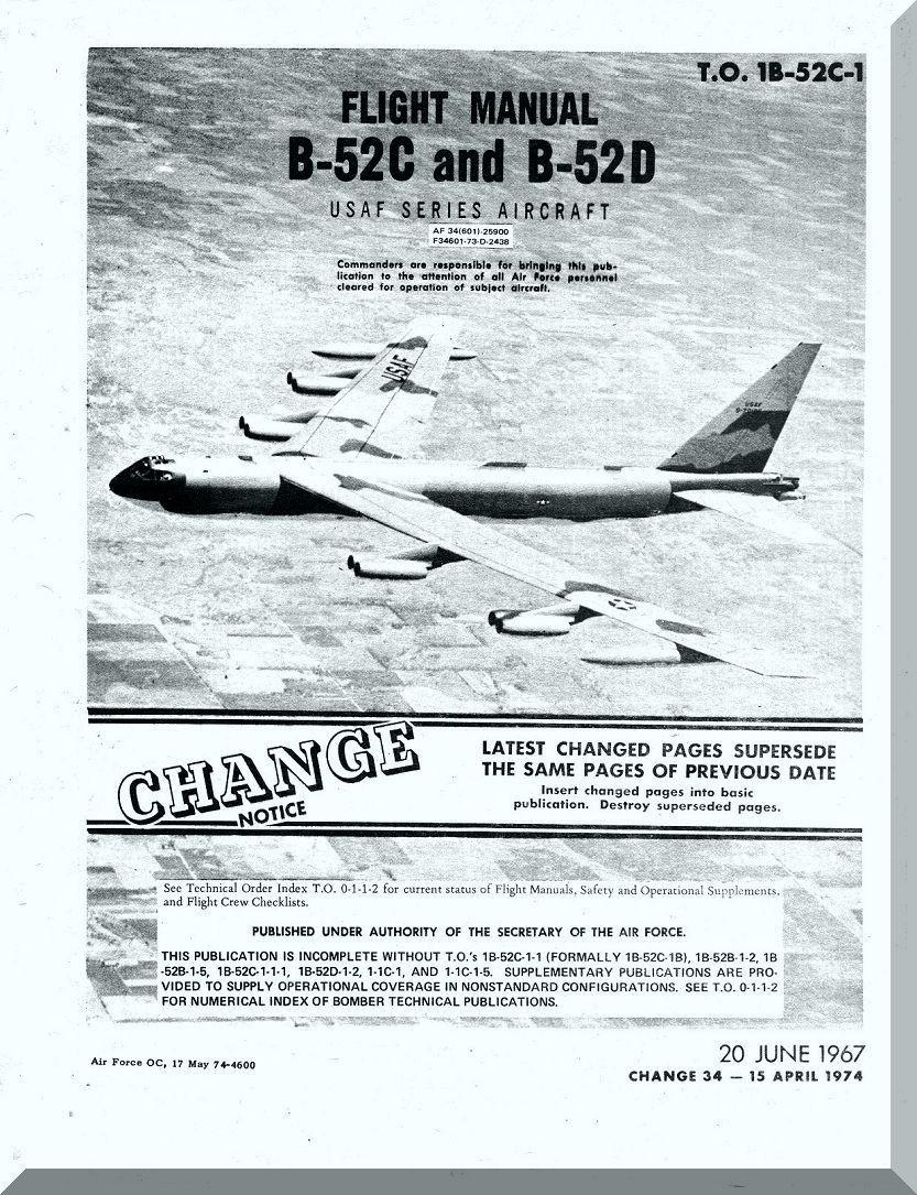 Boeing B-52 C , D Aircraft Flight Manual - T O  1B-52C-1 , 1967