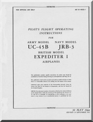 Beechcraft UC-45B JRB-3  Aircraft  Pilot's Flight Operating Manual - 1944