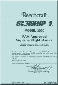 Beech Beechcraft 2000 Starship 1  Aircraft Flight Manual - 1995
