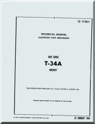 Beechcraft T-34 A  Aircraft  Parts Catalog  Manual - , 1960