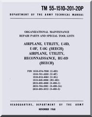 Beechcraft U-8 F G Aircraft  Parts Repair Maintenance Manual - 55-1510-201-20P