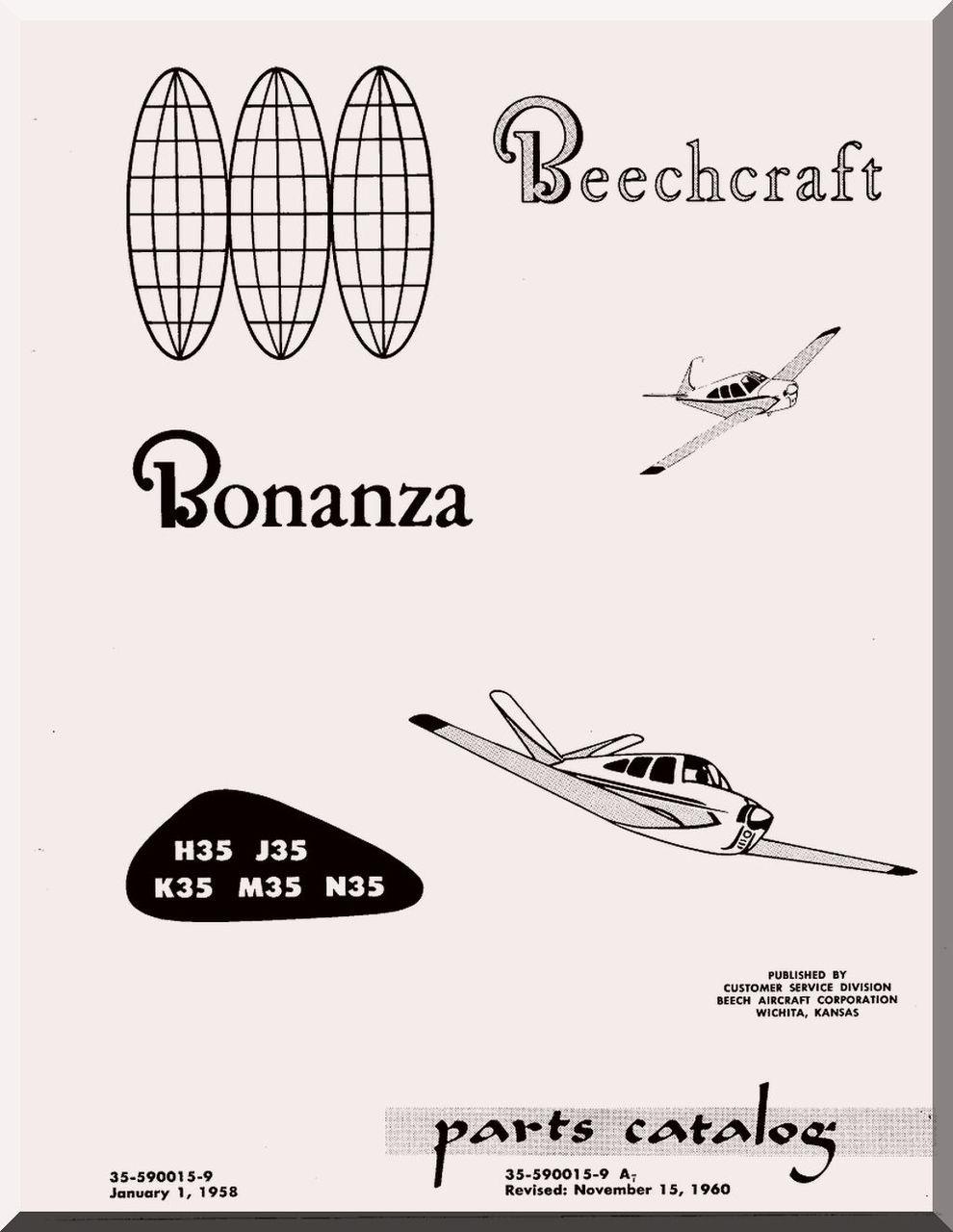 Beechcraft Bonanza H35 J35 K35 M35 N35 Aircraft Parts Catalog Manual - 1960