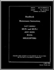 Piaseki HUP-1, 2, H-25A  Helicopter Maintenance  Manual - AN 01-25OHCA-2 , T.O. 1H-25A-2, 1954 Rev 1955