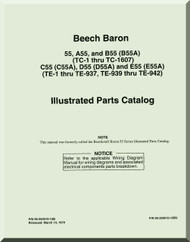 Beechcraft  Baron 55  A55, B55, C55, D55, E55   Aircraft  Parts Catalog  Manual -  1961