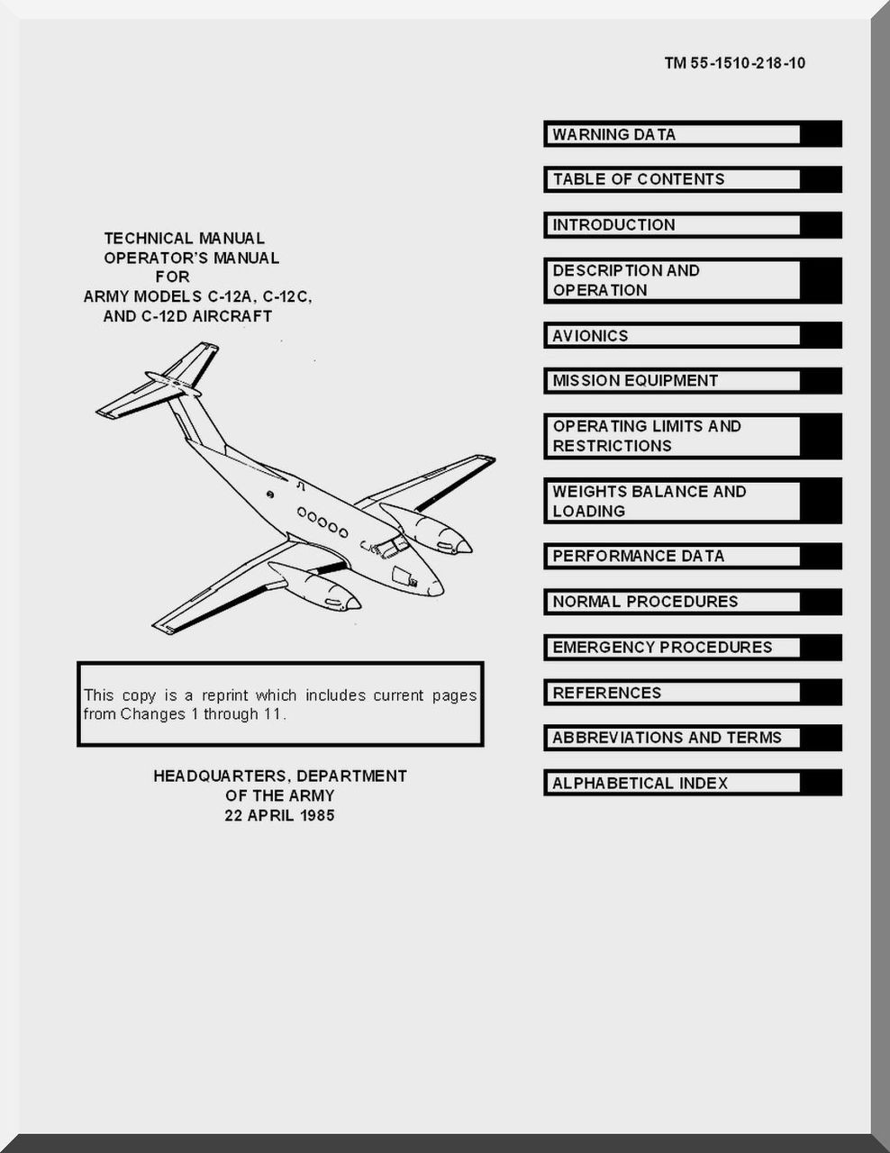 Beechcraft C-12 A C D Aircraft Operator's Manual TM 1-1510