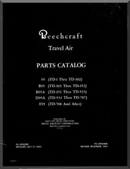 Beechcraft  95 B 95 E 95   Travel Air Aircraft  Illustrated Parts Catalog Manual - 1967