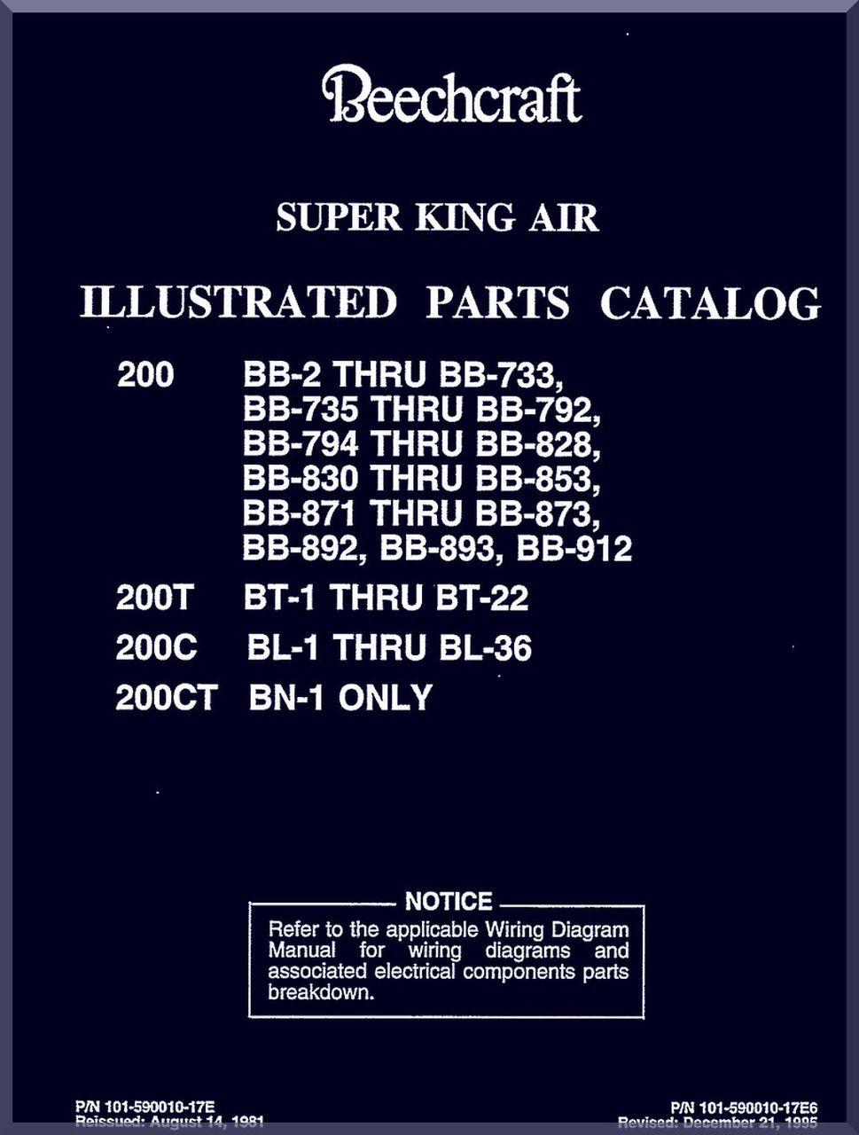beechcraft super king air 200 t c ct aircraft illustrated parts Beechcraft Beech image 1