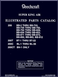 Beechcraft Super King Air   200  T C CT Aircraft Illustrated Parts Catalog Manual