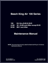 Beechcraft Super King Air 100 A 100 B 100 Aircraft Maintenance Manual
