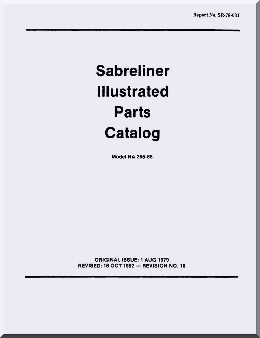 Sabreliner NA 265-65 Aircraft Illustrated Parts Catalog