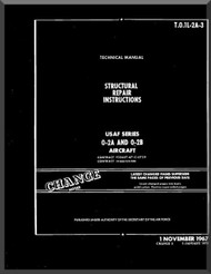 Cessna O-2 Aircraft Structural Repair instruction Manual TO 1L-2A-3 , 1967