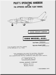 Cessna  402 C Aircraft Pilot's Operating Handbook Manual 1979