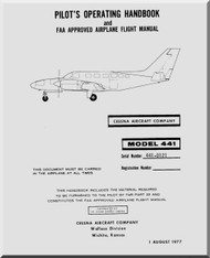 Cessna  441 Aircraft Pilot's Operating Handbook Manual 1977