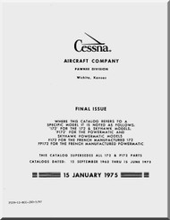 Cessna  172  Series Aircraft Parts Catalog Manual 1963 thru 1974